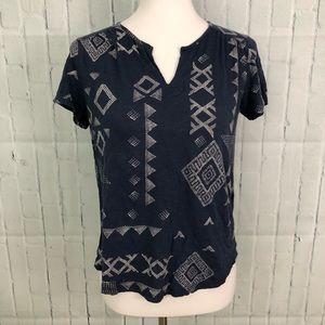 Lucky Brand Boho T Shirt Navy Blue Cap Sleeve EUC